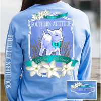 Country Life Outfitters Southern Attitude Lamb Sheep Little Cute Little Bad Girlie Bright Long Sleeve T Shirt