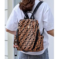 FENDI Hot Sale Women Men Travel Shoulder Bag Bookbag School Bag Backpack Brown