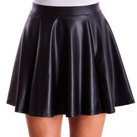 Ladies Black Sheen Texture Flare Banded Waist Skirt, USA Made