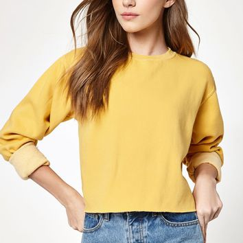 John Galt Yellow Pullover Crew Neck Sweatshirt at PacSun.com