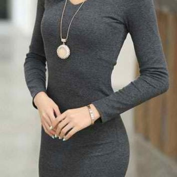 Deep Gray V-Neck Long Sleeve Mini Dress