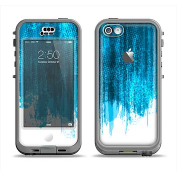 The Brushed Vivid Blue & White Background Apple iPhone 5c LifeProof Nuud Case Skin Set