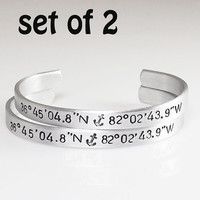 "GPS bracelets set of TWO Coordinate Cuff Customized Hand Stamped Custom Bracelet 1/4"" Wide Customize This Christmas Gift Stocking Stuffer"