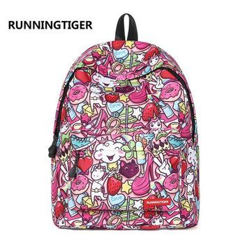 School Backpack trendy Fashion cartoon 3D printing women's backpack school bag for teenage gilrs travel laptop backpack mochila infantil AT_54_4