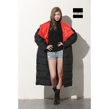 Plus size loose reversible clothing 2015 Winter fashion women's hooded down feather coat outwear parkas good quality Hot Sale