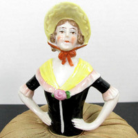 Antique GERMAN LADY Half Doll Pin Cushion Porcelain Bisque Victorian Yellow Hat