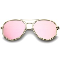 Geometric Hexagonal Metal Frame Colored Mirror Flat Lens Aviator Sunglasses 60mm