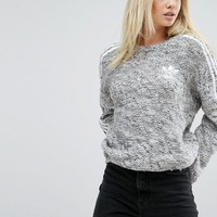 adidas Originals Three Stripe Chunky Knitted Sweater at asos.com