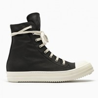 Lace up sneakers from the F/W2014-15 Rick Owens DRK SHDW collection in black.