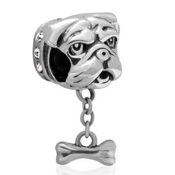 Authentic 925 Sterling Silver Dog Head With Bone Pandora Charm