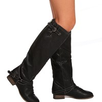 Black Double Buckle Zipper Boots