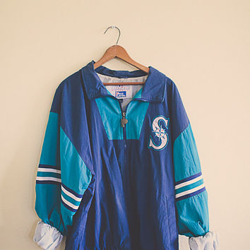 90's Windbreaker Mariners Turquoise Navy Blue Aqua Jacket  Seattle Sports MLB Coat Large L Hipster Preppy 80s Active Wear Oversized Slouchy