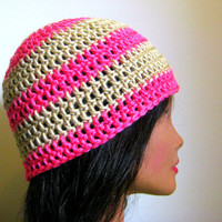 Beanie Neon Pink and Tan Striped.