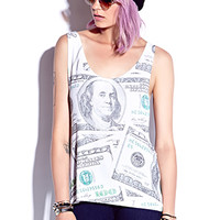 FOREVER 21 Hundred Dollar Tank Cream/Green