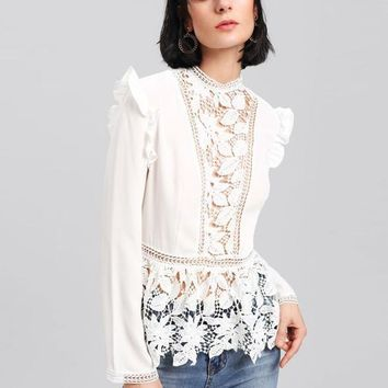 White Embroidered Lace Ruffled Peplum Blouse