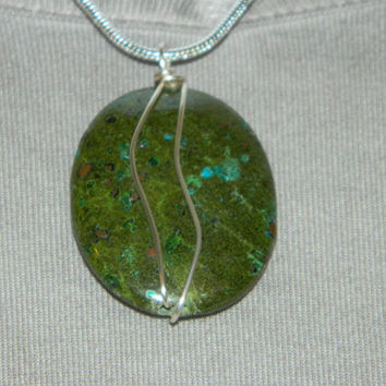 100ct. Mixed Green Stone, Semi Precious, Agate, Pendant, Necklace, Oval, Natural Stone, 148-15
