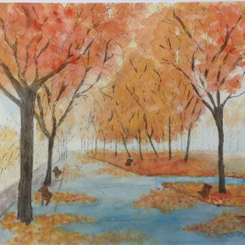 Watercolor Landscape Painting,  Original Park painting, Fall Trees, serene Watercolor, Blue and Orange painting