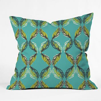 Pattern State Feather Aquatic Throw Pillow