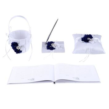 4pcs Wedding Ring Pillow 20*20cm And Flower Basket Notebook Pen Holder For Bride Wedding Party Decoration