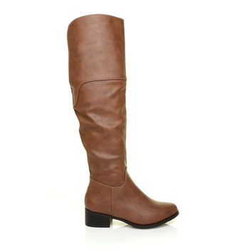 DEBBIE Tan PU Leather Knee High Riding Boots