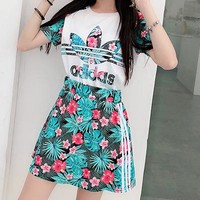 Adidas Summer Fashion Woman Casual Print Short Sleeve Top Skirt Set Two Piece