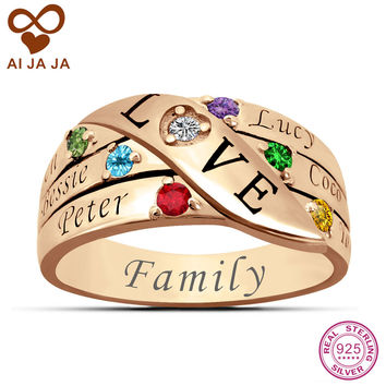 Personalized Sterling Silver Birthstone Mom Rings up to 6 Names