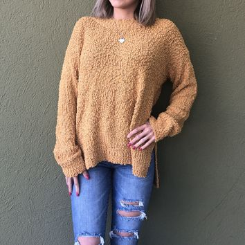 Popping Into Winter Sweater- Mustard