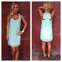 Mint Bow Tank Dress