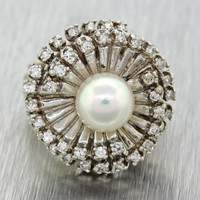 1960s Vintage Art Deco 14k White Gold 0.9ctw Diamond Pearl Chunky Cocktail Ring