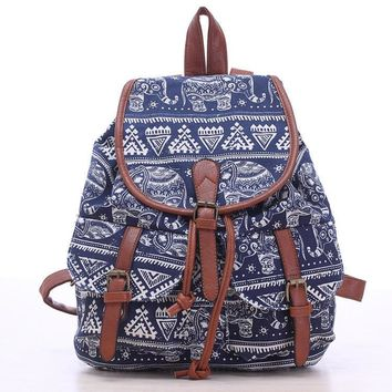 Day-First™ Blue Elephant Travel Bag Canvas Lightweight Backpack