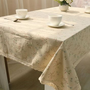 Cheap 1PC Korean Style Beige Cloth Floral Lace Edge Linen Tablecloth For Hotel Coffee Table Cover Home Dining Table Cloth Cotton