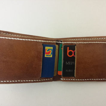 Leather Bifold Wallet. Handmade in Exclusive Light Brown Color Handmade 100% Natural Italian Vegetable Tanned Leather