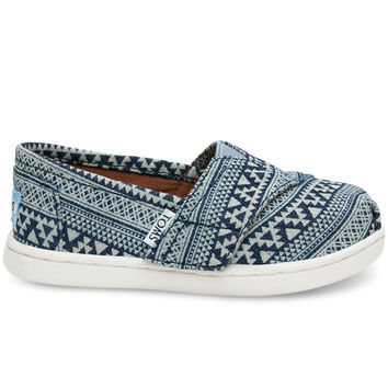 NAVY TRIBAL GEO DENIM TINY TOMS CLASSICS