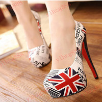 Sexy Fashion Womens Pumps Stiletto High Heels Round Toe Shoes UK Flag Platform