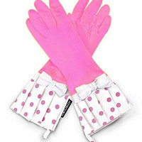 Gloveables Pink & White With Bows Dish Gloves