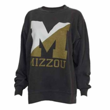 The Mizzou Store - Mizzou Comfort Colors Split Block M Charcoal Long Sleeve Crew Neck Sweatshirt