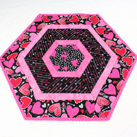 Valentines Day Quilted Table Runner,  Hexagon Table Topper or Candle Mat, Pink, Red and White, Hearts and Polka Dots
