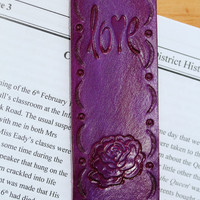 Purple Rose Love Bookmark, Hand Tooled Leather Bookmark, Purple Rose Bookmark, Love Book Marker, Rose Leather Marker, Love Leather Marker