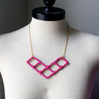 Unique Upcycled Chevron Style Necklace in Plum