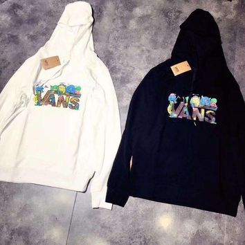 ESBHD2 Vans Fashion Print Hooded Top Sweater Pullover Sweatshirt