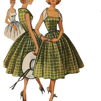1950s Vintage McCalls 4428 Sleeveless Rockabilly Cocktail Dress Full Skirt & Portrait Collar Square Neckline -Bust 32/Size 12 Sewing Pattern