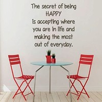 Wall Decor Vinyl Decal Sticker Words Quote the Secret of Being Happy... Kg596