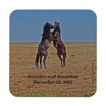 Wedding Anniversary Custom Dancing Horses Coasters