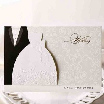 1pcs Sample Groom & Bride Clothes  Printable Wedding Invitations Cards With Envelopes
