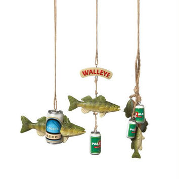 12 Christmas Ornaments - Fish And Beer Theme
