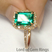 2.56ct EMERALD & H/SI DIAMOND ENGAGEMENT RING  HALO 14K ROSE GOLD