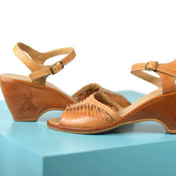 70's Vintage Danelle Tan Leather Wedges Cone Heel Made In Brazil