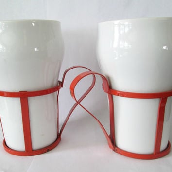 Soda Fountain Drinking Glasses White Milk Glass in Red Cages Vintage 1950s 1960s Set of Two
