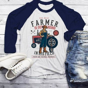 989e8702 Men's Funny Farmer Shirt Best In Field TShirt 3/4 Sleeve Raglan Farming  Gift Idea