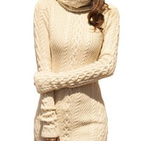 V28 Women Polo Neck Knit Stretchable Elasticity Long Sleeve Slim Sweater Jumper